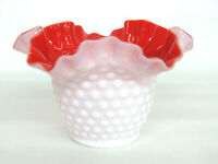 Kanawha Hobnail Style White Milk Glass Red Overlay Crimped Bowl Vase 587B
