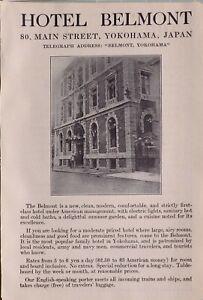 1914 Japan Japanisch Touristen Werbeanzeige Hotel Belmont Yokohama 80 Haupt