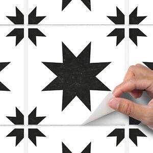 Black Modern Star Tile Sticker Decal Bathroom Kitchen - T29