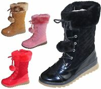 Girls Warm Lined Boots Quilted Winter Warm Christmas High Top School Shoes Size