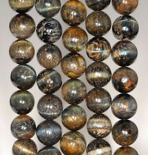 10MM BLUE TIGER EYE GEMSTONE GRADE AB ROUND LOOSE BEADS 7.5""