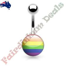 316L Surgical Steel Belly Ring with Gay Pride Rainbow Logo