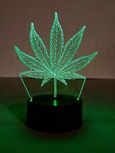 "Creative 3D Visualization Lamp Marijuana Weed 7 Colors 7"" Tall"