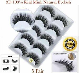 5 Pair 3D Mink False Eyelashes Wispy Cross Long Thick Soft Fake Eye Lashes