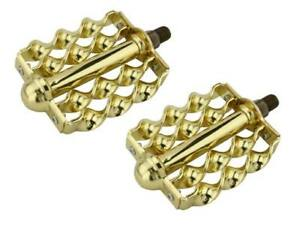 """New! Lowrider Double Bicycle Steel Twisted Flat Twisted Pedals 1/2"""" Gold."""