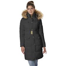 Women's Rocawear Long Hooded Belted Coat Black M #NJG1K-G16