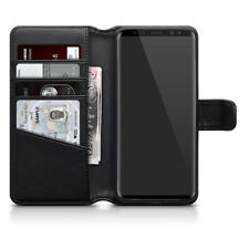 Genuine Real Leather Wallet Case for Samsung Galaxy S9 - Black