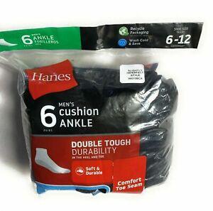 Hanes Men's Cushion Ankle Socks (Size 6-12, 6-Pack) Black White