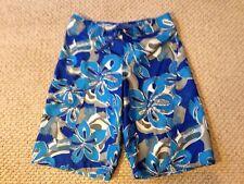 Boys Size 14 L.L. Bean Swimsuit Trunks Board Shorts Blue White Gray