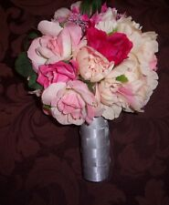 Wedding Bouquet Artificial Pink Roses and mixed flowers/silver Gray Handle