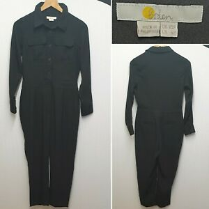 BODEN ZADA BLACK LONG SLEEVE SEMI FITTED COLLARED BUTTON UP JUMPSUIT UK SIZE 10P