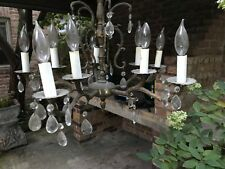 Vintage Spanish Style Brass 5 arm 10 lights Chandelier with Prisms