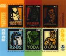 "Hojita Bloque sellos de España  Star Wars  "" VADER ""2017 stamps Guerra Galaxias"
