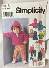 Simplicity 5316 A Sewing Pattern Uncut Baby Overall Jacket Vest Pants Top Hat