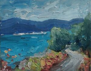 CLIFF FLOWERS SEASCAPE OIL PAINTING BY ARTIST VIVEK MANDALIA IMPRESSIONISM