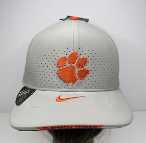 New Nike Sample 21' Clemson Tigers Purple On Field Sideline Fitted OSFA Hat Gray