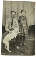 """PIT BULL DOG """"JEWELL"""" EARLY 1900s RPPC REAL PHOTO POSTCARD LIZZIE JOHNSON KY"""
