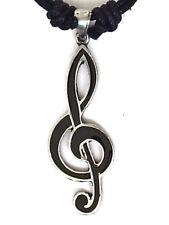 Black enamel treble clef musical notes pewter pendant 50mm long P0150