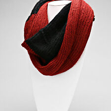 Red and Black Knitted Infinity Scarf