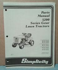 Simplicity 5200 Gear Drive Tractor And Mower Deck Parts Manual.Tp-1123 Original!