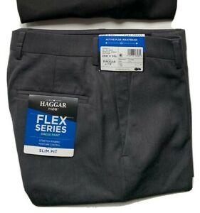 Haggar H26 Men's Flex Series Slim Fit Dress Pants Dark Grey Urban Heather