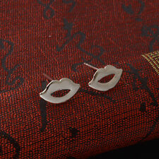 Shiny 925 Sterling Silver Plated Cute Small Lip Shaped Stud Earrings Gift