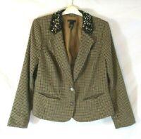 Lane Bryant Embellished Jacket Blazer Check Sz 14 Button Lined Career Women J713