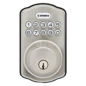 Brinks Digital Door Locks Deadbolt Home Safety Lock Hardware Satin Nickel