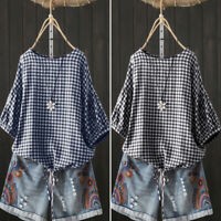 ZANZEA Women Casual Plaid Check Shirt Tee Short Sleeve Top Plus Size Blouse HOT