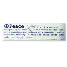S042 - Peace Definition Sticker Large Bumper Sticker