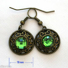 green rhinestone bronze round circle charm EARRINGS