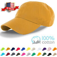 Cotton Cap Baseball Caps Adjustable Solid Dad Hat Polo Style Washed Curved Visor