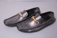GUCCI men's black driving loafers Bamboo bit shoes Gucci 8 G / US 9 D