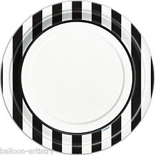 "8 x BLACK White Stripes Stylish Party Large 9"" Disposable Round Paper Plates"