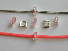 10 Pc PINK BREAST CANCER AWARENESS RIBBON European CHARM Bead fits 550  paracord