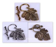 10 Sets Silver/Gold/Brass  Grape Leaf Toggle Clasps Finding for Jewelry Making