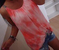 Hängerchen Bluse M L Baumwolle Blogger Tunika Ibiza Shirt Koralle top Chic BoHo