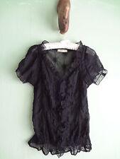 Sz M Vintage Romy Black Ruched Summer All Season Short Sleeve Sheer Blouse