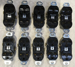 (10) Hubbell 5662 15A 250V Heavy Duty Spec Grade Duplex Receptacles Black Face