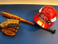 Baseball bat, helmet and glove