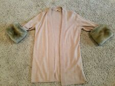 Soft Surroundings Cardi Women's Brown Faux Fur SOFT Jacket Pockets Size M Sleeve