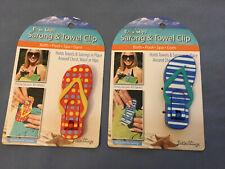 O2Cool Boca Clips Sarong & Towel Clips, Flip Flop Shape - Blue & Orange