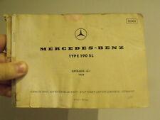 """Mercedes-Benz 190SL original catalog """"C"""" 1959 Original Manual parts Vintage car"""