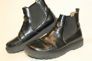 Birkenstock Womens 41 10 Distressed Smooth Black Leather Ankle Chukka Boots