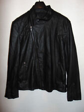 "Firetrap Mens Faux Leather Jacket Coat Black Size Extra Large XL 21"" Pit to pit"