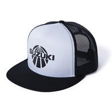 Suzuki Vintage Trucker Snap Back Hat in Black & White - Genuine Suzuki - New