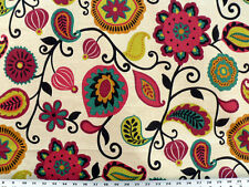 Drapery Upholstery Fabric Vibrant Retro Floral Print Ivory Linen-Look Background