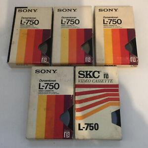 5 VINTAGE  SONY  BETAMAX L750 VIDEO TAPES. BETA1