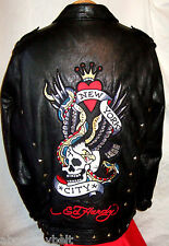 AVIREX  & ED HARDY FACTORY DISTRESSED LEATHER Jacket***3XL**$950***99.9% NEWBIE!