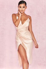 HOUSE OF CB 'Coco' Nude Satin Drape Back Dress S 8 / 10 SS 18717